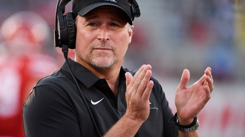 <p>               Houston coach Dana Holgorsen applauds during the first half of the team's NCAA college football game against Prairie View on Saturday. Sept. 7, 2019, in Houston. (AP Photo/Eric Christian Smith)             </p>