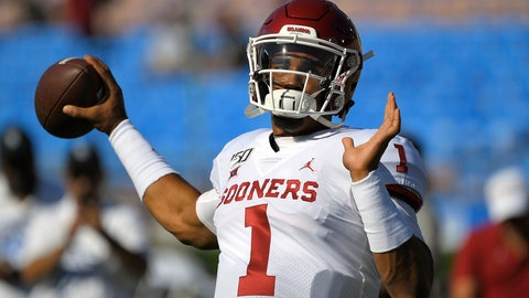 <p>               Oklahoma quarterback Jalen Hurts warms up for the team's NCAA college football game against UCLA on Saturday, Sept. 14, 2019, in Pasadena, Calif. (AP Photo/Mark J. Terrill)             </p>
