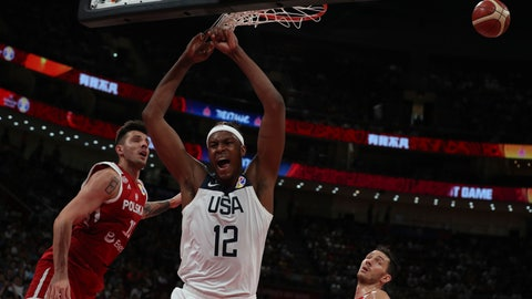 <p>               United States' Myles Turner dunks during a consolation playoff game against Poland for the FIBA Basketball World Cup at the Cadillac Arena in Beijing on Saturday, Sept. 14, 2019. U.S. defeated Poland 87-74 (AP Photo/Ng Han Guan)             </p>