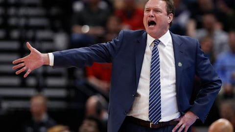 <p>               FILE - In this March 21, 2019, file photo, Kansas head coach Bill Self reacts in the first half during a first round men's college basketball game against Northeastern in the NCAA Tournament in Salt Lake City. A person familiar with the situation says the University of Kansas received a notice of allegations from the NCAA on Monday, Sept. 23, 2019, that alleges significant violations within its storied men's basketball program. The person spoke to The Associated Press on condition of anonymity because neither the NCAA nor the school had announced the notice, which was first reported by Yahoo Sports. That initial report, citing unnamed sources, said the notice included three Level 1 violations tied primarily to recruiting, lack of institutional control and a responsibility charge leveled against Hall of Fame coach Self. (AP Photo/Jeff Swinger, File)             </p>