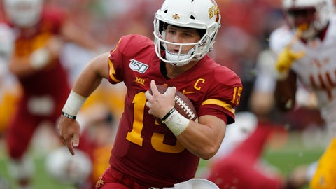 <p>               RETRANSMISSION TO CORRECT DATE - Iowa State quarterback Brock Purdy runs the ball for a first down against Louisiana-Monroe during the first half of an NCAA college football game, Saturday, Sept. 21, 2019, in Ames, Iowa. (AP Photo/Matthew Putney)             </p>