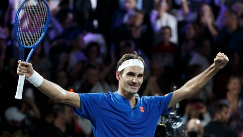 <p>               Team Europe's Roger Federer celebrates after winning against Team World's Nick Kyrgios during their match at the Laver Cup tennis event in Geneva, Switzerland, Saturday, Sept. 21, 2019. (Salvatore Di Nolfi/Keystone via AP)             </p>