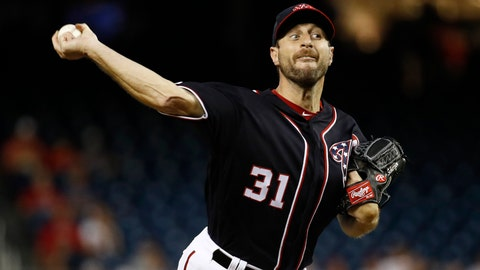 <p>               Washington Nationals starting pitcher Max Scherzer throws to the Philadelphia Phillies in the first inning of the second baseball game of a doubleheader, Tuesday, Sept. 24, 2019, in Washington. (AP Photo/Patrick Semansky)             </p>