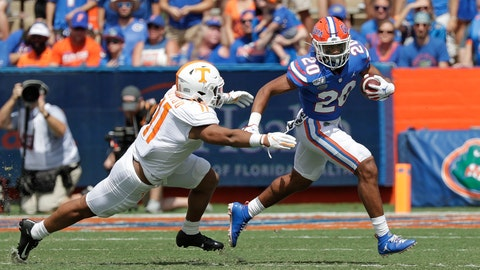 <p>               Florida running back Malik Davis (20) tries to get past Tennessee linebacker Henry To'o To'o, left, during the first half of an NCAA college football game, Saturday, Sept. 21, 2019, in Gainesville, Fla. (AP Photo/John Raoux)             </p>