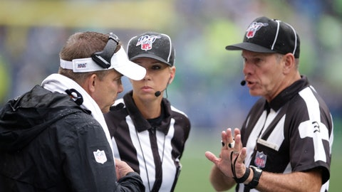 <p>               New Orleans Saints head coach Sean Payton, left, talks with officials during the first half of an NFL football game against the Seattle Seahawks, Sunday, Sept. 22, 2019, in Seattle. (AP Photo/Scott Eklund)             </p>