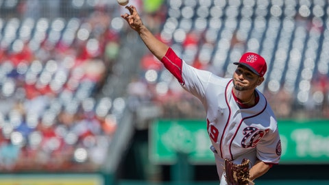 <p>               Washington Nationals starting pitcher Anibal Sanchez (19) throws a pitch during the first inning of a baseball game against the Atlanta Braves in Washington, Sunday, Sept. 15, 2019. (AP Photo/Manuel Balce Ceneta)             </p>