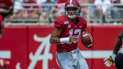 <p>               Alabama quarterback Tua Tagovailoa (13) rolls out to throw against Southern Miss during the second half of an NCAA college football game, Saturday, Sept. 21, 2019, in Tuscaloosa, Ala. (AP Photo/Vasha Hunt)             </p>