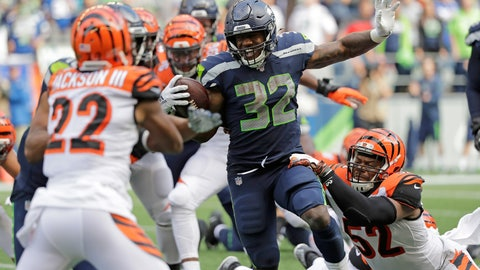 <p>               Seattle Seahawks running back Chris Carson (32) rushes against the Cincinnati Bengals during the second half of an NFL football game, Sunday, Sept. 8, 2019, in Seattle. (AP Photo/John Froschauer)             </p>