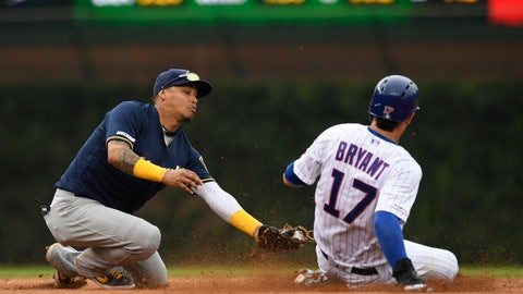 <p>               Milwaukee Brewers shortstop Orlando Arcia left, tries to apply the tag as Chicago Cubs' Kris Bryant steals second base during the eighth inning of a baseball game Sunday, Sept. 1, 2019, in Chicago. (AP Photo/Paul Beaty)             </p>