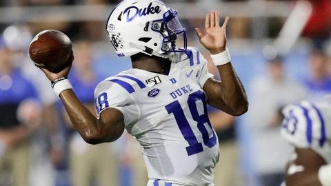 <p>               Duke quarterback Quentin Harris passes against Middle Tennessee in the first half of an NCAA college football game Saturday, Sept. 14, 2019, in Murfreesboro, Tenn.  (AP Photo/Mark Humphrey)             </p>