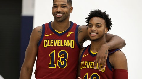 <p>               Cleveland Cavaliers' Tristan Thompson, left, and Darius Garland pose for a photo during the NBA basketball team's media day, Monday, Sept. 30, 2019, in Independence, Ohio. (AP Photo/Tony Dejak)             </p>