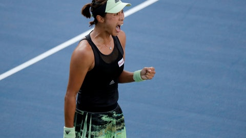 <p>               Wang Qiang, of China, reacts after defeating Fiona Ferro, of France, during round three of the US Open tennis championships Friday, Aug. 30, 2019, in New York. (AP Photo/Eduardo Munoz Alvarez)             </p>