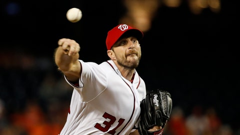 <p>               Washington Nationals starting pitcher Max Scherzer throws during the fourth inning of the team's baseball game against the Baltimore Orioles at Nationals Park Wednesday, Aug. 28, 2019, in Washington. (AP Photo/Alex Brandon)             </p>