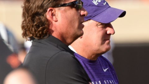 <p>               Oklahoma State head coach Mike Gundy, left, talks with Kansas State head coach Chris Klieman before an NCAA college football game in Stillwater, Okla., Saturday, Sept. 28, 2019. (AP Photo/Brody Schmidt)             </p>