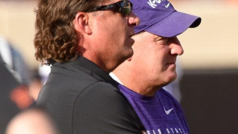 <p>               Oklahoma State head coach Mike Gundy, left, talks with Kansas State head coach Chris Klieman before an NCAA college football game in Stillwater, Okla., Saturday, Sept. 28, 2019. (AP Photo/Brody Schmidt)             </p>