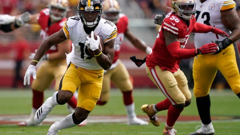 <p>               Pittsburgh Steelers wide receiver JuJu Smith-Schuster (19) runs against the San Francisco 49ers during the first half of an NFL football game in Santa Clara, Calif., Sunday, Sept. 22, 2019. (AP Photo/Tony Avelar)             </p>