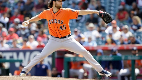 <p>               Houston Astros starting pitcher Gerrit Cole throws to a Los Angeles Angels batter during the first inning of a baseball game in Anaheim, Calif., Sunday, Sept. 29, 2019. (AP Photo/Alex Gallardo)             </p>