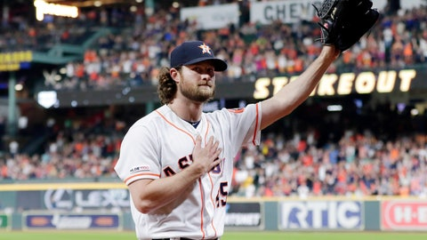 <p>               Houston Astros starting pitcher Gerrit Cole waves to the crowd as he leaves the mound after striking out Texas Rangers designated hitter Shin-Soo Choo for his 300th season strikeout during the sixth inning of a baseball game Wednesday, Sept. 18, 2019, in Houston. (AP Photo/Michael Wyke)             </p>