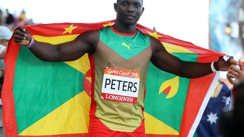 <p>               FILE - In this April 14, 2018, file photo, Grenada's Anderson Peters celebrates after winning the bronze medal in the men's javelin final at the 2018 Commonwealth Games on the Gold Coast, Australia. Peters holds Grenada's national record in the javelin throw and is also the NCAA champion out of Mississippi State. Around 230 athletes from countries outside the United States compete and train in the U.S. university system. (AP Photo/Mark Schiefelbein, File)             </p>