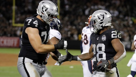 <p>               Oakland Raiders running back Josh Jacobs, right, is greeted by offensive tackle Kolton Miller (74) after scoring a touchdown during the first half of an NFL football game against the Denver Broncos Monday, Sept. 9, 2019, in Oakland, Calif. (AP Photo/Ben Margot)             </p>