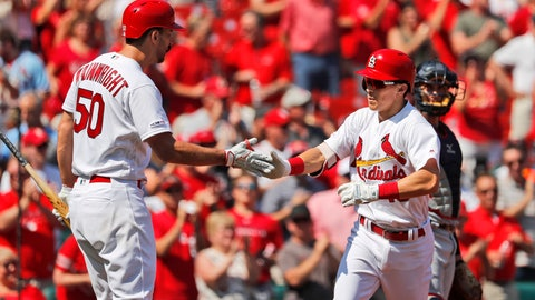 <p>               St. Louis Cardinals' Tommy Edman, right, is congratulated by teammate Adam Wainwright (50) after hitting a solo home run during the third inning of a baseball game against the Washington Nationals Wednesday, Sept. 18, 2019, in St. Louis. (AP Photo/Jeff Roberson)             </p>