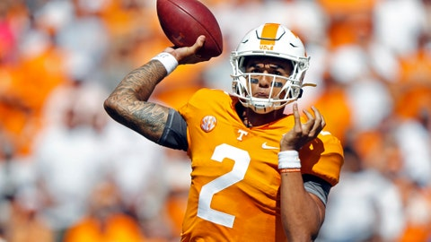 <p>               Tennessee quarterback Jarrett Guarantano (2) throws to a receiver in the first half of an NCAA college football game against Georgia State, Saturday, Aug. 31, 2019, in Knoxville, Tenn. (AP Photo/Wade Payne)             </p>