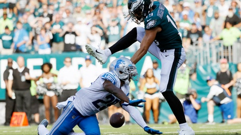 <p>               Philadelphia Eagles' J.J. Arcega-Whiteside, right, cannot catch a pass against Detroit Lions' Rashaan Melvin during the second half of an NFL football game, Sunday, Sept. 22, 2019, in Philadelphia. Detroit won 27-24. (AP Photo/Michael Perez)             </p>