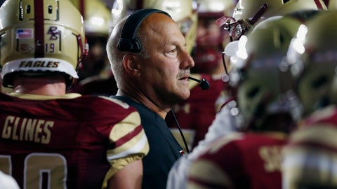 <p>               Boston College head coach Steve Addazio stands with his team during a timeout in the first half of an NCAA college football game against Kansas in Boston, Friday, Sept. 13, 2019. (AP Photo/Michael Dwyer)             </p>
