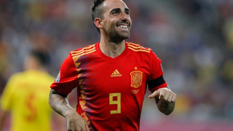 <p>               Spain's Paco Alcacer celebrates after scoring his side's second goal during the Euro 2020 group F qualifying soccer match between Romania and Spain, at the National Arena stadium in Bucharest, Romania, Thursday, Sept. 5, 2019. (AP Photo/Vadim Ghirda)             </p>