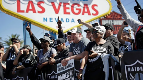 <p>               FILE - In this April 29, 2017, file photo, fans cheer as the Oakland Raiders announce their fourth round draft pick during an NFL football draft event in Las Vegas. The NFL was so petrified of being associated with gambling or sports betting that up until recently players were forbidden to go into casinos, and anything associated with Las Vegas was suspect. (AP Photo/John Locher, File)             </p>