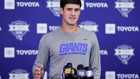 <p>               FILE - In this July 25, 2019, file photo, New York Giants' Daniel Jones responds to questions during a news conference at the NFL football team's training camp in East Rutherford, N.J. Coach Pat Shurmur announced Tuesday, Sept. 17 that Daniel Jones, the No. 6 overall pick in the NFL draft, is replacing the two-time Super Bowl MVP as the Giants' quarterback, beginning Sunday at Tampa Bay. (AP Photo/Frank Franklin II, File)             </p>