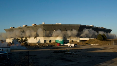 <p>               FILE - In this Dec. 3, 2017, file photo, detonations can be seen during an attempted implosion of the Silverdome, in Pontiac, Michigan. Online retail giant Amazon has proposed using the site of the former home of the Detroit Lions as a distribution center in a $250 million project that could bring 1,500 jobs. Details of plans for the Pontiac Silverdome site in suburban Detroit were made public Wednesday night, Sept. 18, 2019. (David Guralnick/Detroit News via AP, File)             </p>