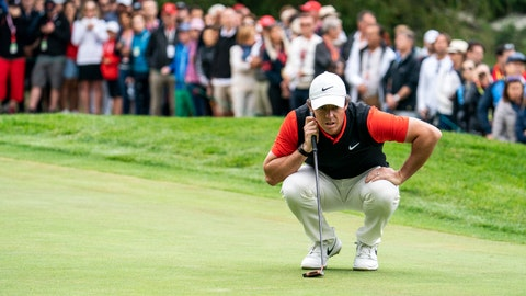 <p>               Rory McIlroy of Northern Ireland lines up a putt during the final round the final round of the European Masters golf tournament in Crans-Montana, Switzerland, Sunday, September 1, 2019. (Alexandra Wey/Keystone via AP)             </p>