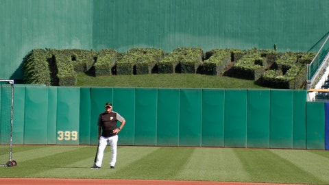 <p>               Pittsburgh Pirates manager Clint Hurdle stands behind second base and watches the team take batting practice before a baseball game against the Miami Marlins, Wednesday, Sept. 4, 2019, in Pittsburgh. (AP Photo/Keith Srakocic)             </p>