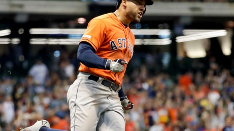 <p>               Houston Astros' George Springer reacts after hitting a home run during the 10th inning of a baseball game against the Milwaukee Brewers Monday, Sept. 2, 2019, in Milwaukee. (AP Photo/Morry Gash)             </p>