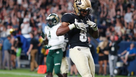 <p>               Colorado running back Alex Fontenot celebrates after his run for a touchdown against Colorado State during the third quarter of an NCAA college football game Friday, Aug. 30, 2019, in Denver. (AP Photo/David Zalubowski)             </p>
