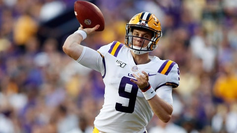 <p>               FILE - In this Aug. 31, 2019, file photo, LSU quarterback Joe Burrow (9) throws a pass during an NCAA football game against Georgia Southern in Baton Rouge, La. The LSU defense is dotted with players projected as future NFL first-round draft picks. And the Tigers unveiled a new up-tempo offense last week that saw Burrow tie a school record with five touchdown passes in the first half. (AP Photo/Tyler Kaufman, File)             </p>