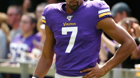 """<p>               FILE - In this Aug. 24, 2019, file photo, Minnesota Vikings' Kaare Vedvik stands on the sideline during the first half of an NFL preseason football game against the Arizona Cardinals in Minneapolis. Coach Mike Zimmer said he was """"at a loss"""" about his specialists, after Vedvik missed two field goals in the last exhibition game.  (AP Photo/Bruce Kluckhohn, File)             </p>"""