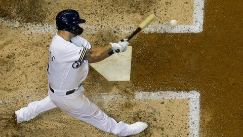 <p>               Milwaukee Brewers' Mike Moustakas hits a home run during the seventh inning of a baseball game against the San Diego Padres Tuesday, Sept. 17, 2019, in Milwaukee. (AP Photo/Morry Gash)             </p>
