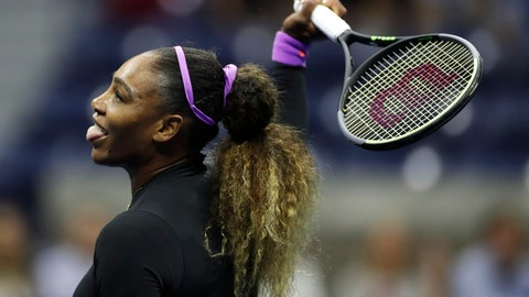 <p>               Serena Williams, of the United States, reacts after a shot to Elina Svitolina, of Ukraine, during the semifinals of the U.S. Open tennis championships Thursday, Sept. 5, 2019, in New York. (AP Photo/Adam Hunger)             </p>