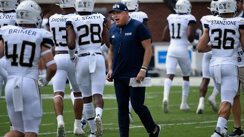 <p>               FILE - In this Saturday, Sept. 7, 2019, file photo, Georgia Tech head coach Geoff Collins walks the field during warm ups before the start of an NCAA college football game against South Florida, in Atlanta. Collins has  his first win at Georgia Tech, so that's out of the way. But two games into his coaching tenure, it still looks like a very difficult year on the Flats. (AP Photo/Jon Barash, File)             </p>