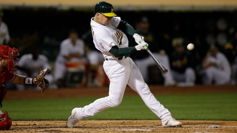 <p>               Oakland Athletics' Matt Chapman connects for a three-run home run off Los Angeles Angels' Jaime Barria during the third inning of a baseball game Tuesday, Sept. 3, 2019, in Oakland, Calif. (AP Photo/Ben Margot)             </p>