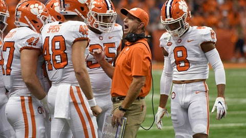 <p>               Clemson coach Dabo Swinney talks to his players against Syracuse during the first half of an NCAA college football game Saturday, Sept. 14, 2019, in Syracuse, N.Y. (AP Photo/Steve Jacobs)             </p>