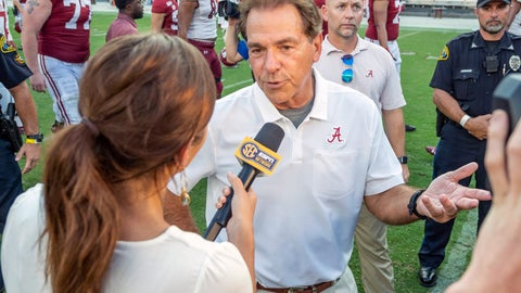 <p>               Alabama head coach Nick Saban talks with ESPN after a win over New Mexico State in an NCAA college football game Saturday, Sept. 7, 2019, in Tuscaloosa, Ala. (AP Photo/Vasha Hunt)             </p>