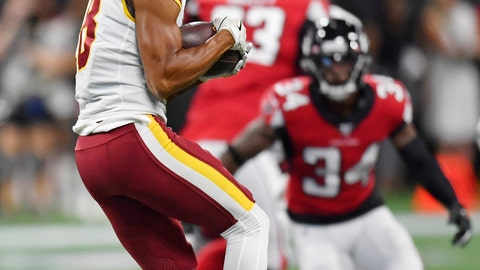 <p>               Washington Redskins wide receiver Josh Doctson (18) makes the catch against Atlanta Falcons defensive back Chris Cooper (34) during the first half an NFL preseason football game, Thursday, Aug. 22, 2019, in Atlanta. (AP Photo/Mike Stewart)             </p>