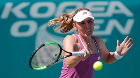 <p>               Ekaterina Alexandrova of Russia returns a shot to Greet Minnen of Belgium during their first-round match of the Korea Open tennis championships in Seoul, South Korea, Monday, Sept. 16, 2019. (AP Photo/Lee Jin-man)             </p>