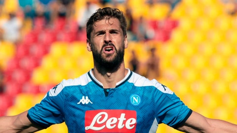 <p>               Napoli's Fernando Llorente celebrates after scoring during during the Italian Serie A soccer match between Lecce and Napoli at the Via del Mare stadium in Lecce, Italy, Sunday, Sept. 22, 2019. (Marco Lezzi/ANSA via AP)             </p>