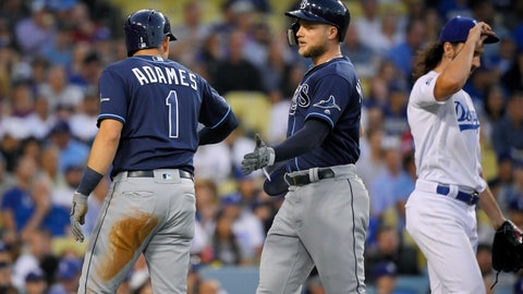 <p>               Tampa Bay Rays' Willy Adames, left, and Austin Meadows, center, congratulate each other after they scored on a double by Tommy Pham off Los Angeles Dodgers relief pitcher Tony Gonsolin, right, during the fifth inning of a baseball game Wednesday, Sept. 18, 2019, in Los Angeles. (AP Photo/Mark J. Terrill)             </p>