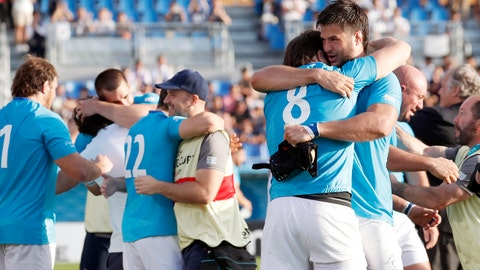 <p>               Uruguay's players celebrate after winning over Fiji during the Rugby World Cup Pool D match in Kamaishi, northeastern Japan, Wednesday, Sept. 25, 2019. (Naoya Osato/Kyodo News via AP)             </p>