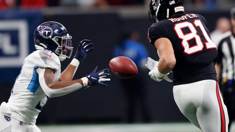 <p>               Atlanta Falcons tight end Austin Hooper (81) misses a catch against Tennessee Titans free safety Kevin Byard (31) during the first half of an NFL football game, Sunday, Sept. 29, 2019, in Atlanta. (AP Photo/John Bazemore)             </p>